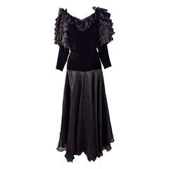 Jean Louis Scherrer Vintage Ruffled Silk Organza & Velvet Evening Gown 1980s