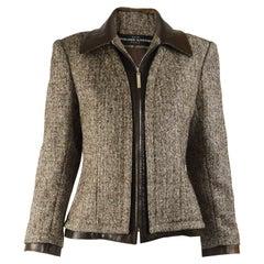 Jean Louis Scherrer Vintage Silk Tweed & Leather Jacket