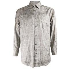 Jean Louis Scherrer Vintage Viking Pattern Mens Silk Shirt