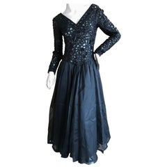 Jean-Louis Sherrer Haute Couture Vintage Sheer Embellished Lace Evening Dress