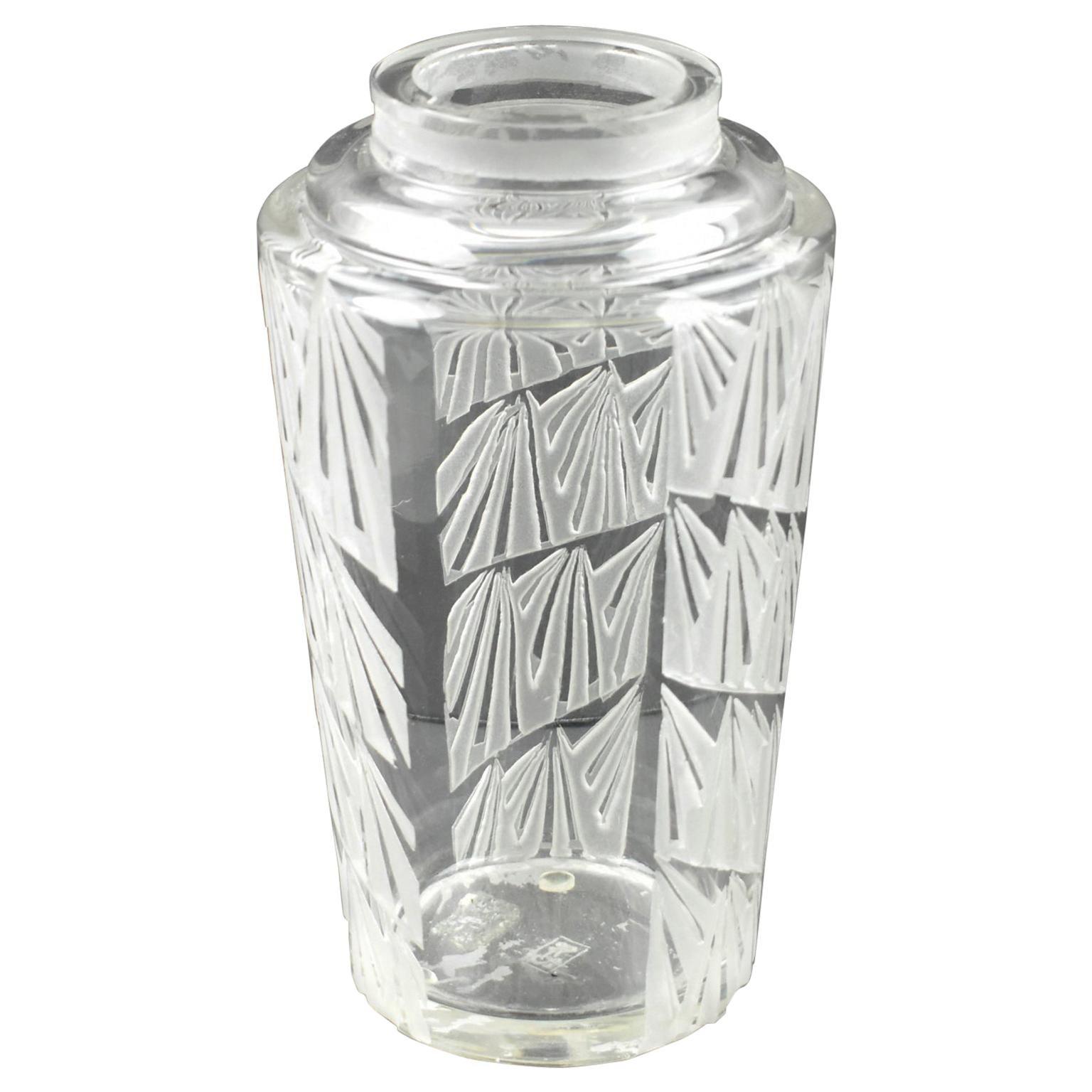 Jean Luce 1930s Art Deco Geometric Etched Glass Vase