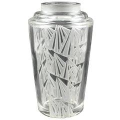 Jean Luce 1930s Art Deco Geometric Etched Vase