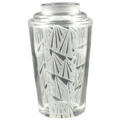 Jean Luce 1930s French Art Deco Geometric Etched Glass Vase