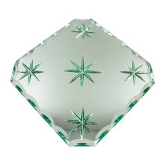 Jean Luce 1930s French Art Deco Mirrored Glass Tray Platter Centerpiece