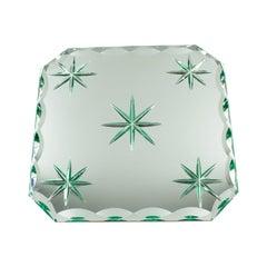 Jean Luce 1930s Mirrored Glass Tray Platter Centerpiece