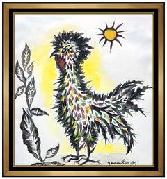 Jean Lurcat Original Gouache Painting Signed Nature Animal Bird Modern Artwork