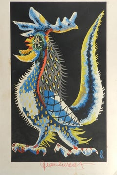 Jean Lurcat Lithograph Coq Guerrier Hand Signed c1950-1960 unframed on card