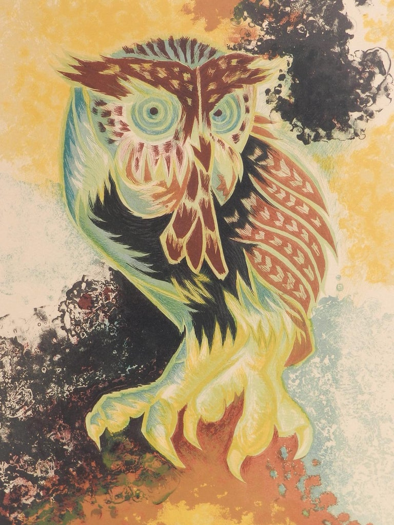Jean Lurcat Lithograph Owl Limited Edition Hand Signed c1950-1960 unframed  For Sale 1