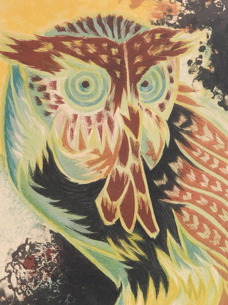 Jean Lurcat Lithograph Owl Limited Edition Hand Signed c1950-1960 unframed  For Sale 3