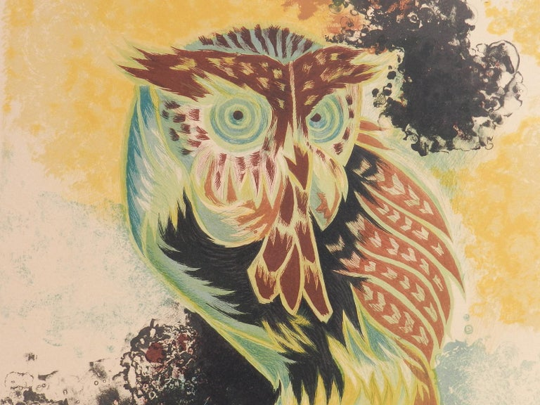 Jean Lurcat Lithograph Owl Limited Edition Hand Signed c1950-1960 unframed  For Sale 4