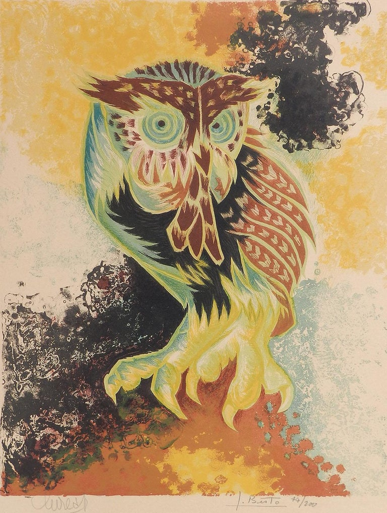 Jean Lurcat Lithograph Owl Limited Edition Hand Signed c1950-1960 unframed  - Print by Jean Lurcat