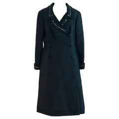 Jean Lutece 1960s Vintage Beaded Black Silk Embellished Coat Dress