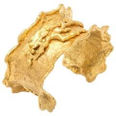 Jean Mahie 22 Karat Gold Charming Monsters Organic Cuff Bangle
