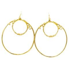 Jean Mahie 22 Karat Gold Handmade Hoop Earrings