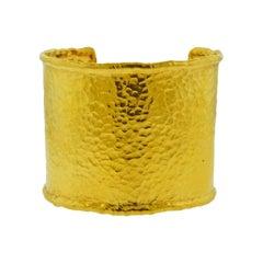 Jean Mahie 22 Karat Gold Wide Cuff Bracelet