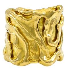 Jean Mahie 22 Karat Sculptural Free-Form Wide Ring