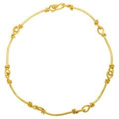 Jean Mahie 22 Karat Yellow Gold Bar and Knot Necklace