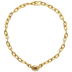 Jean Mahie 22 Karat Yellow Gold Cognac Diamond Necklace