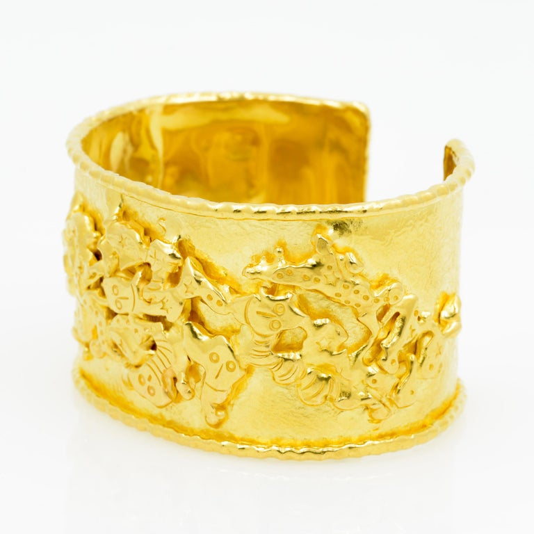 Jean Mahie 22 Karat Yellow Gold Charming Monsters Cuff For Sale 5