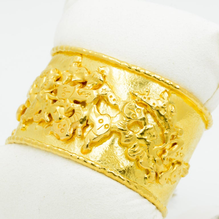 Classical Roman Jean Mahie 22 Karat Yellow Gold Charming Monsters Cuff For Sale