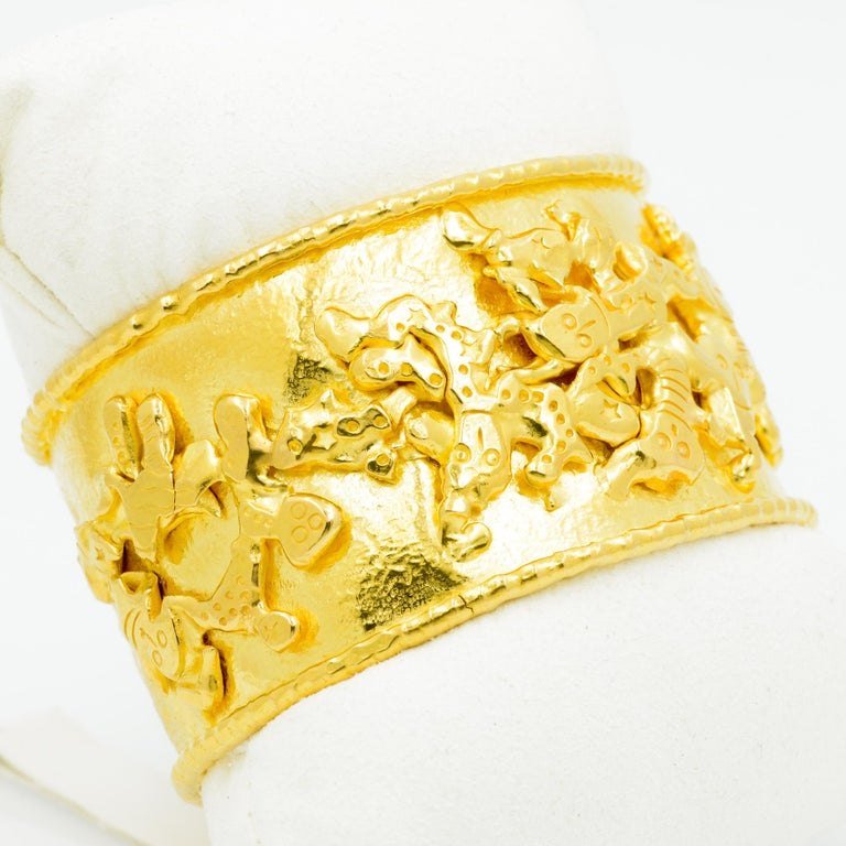 Jean Mahie 22 Karat Yellow Gold Charming Monsters Cuff In Excellent Condition For Sale In Dallas, TX