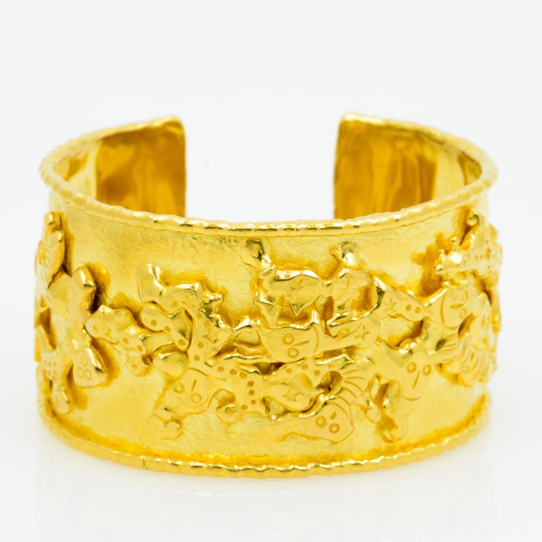 Women's or Men's Jean Mahie 22 Karat Yellow Gold Charming Monsters Cuff For Sale