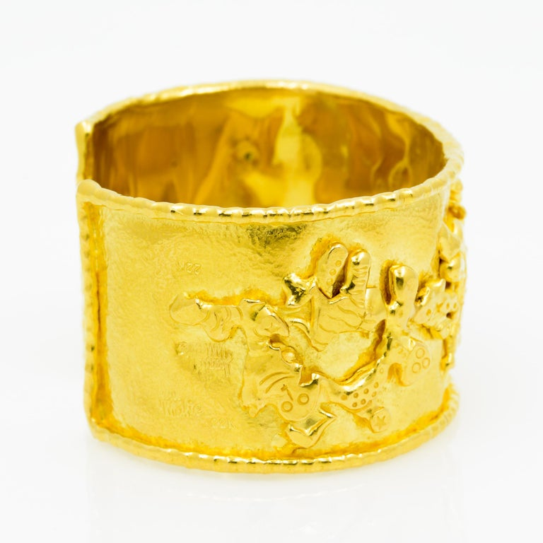 Jean Mahie 22 Karat Yellow Gold Charming Monsters Cuff For Sale 2