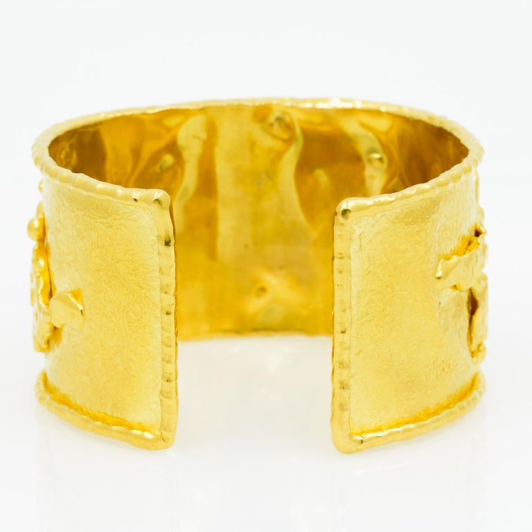 Jean Mahie 22 Karat Yellow Gold Charming Monsters Cuff For Sale 3