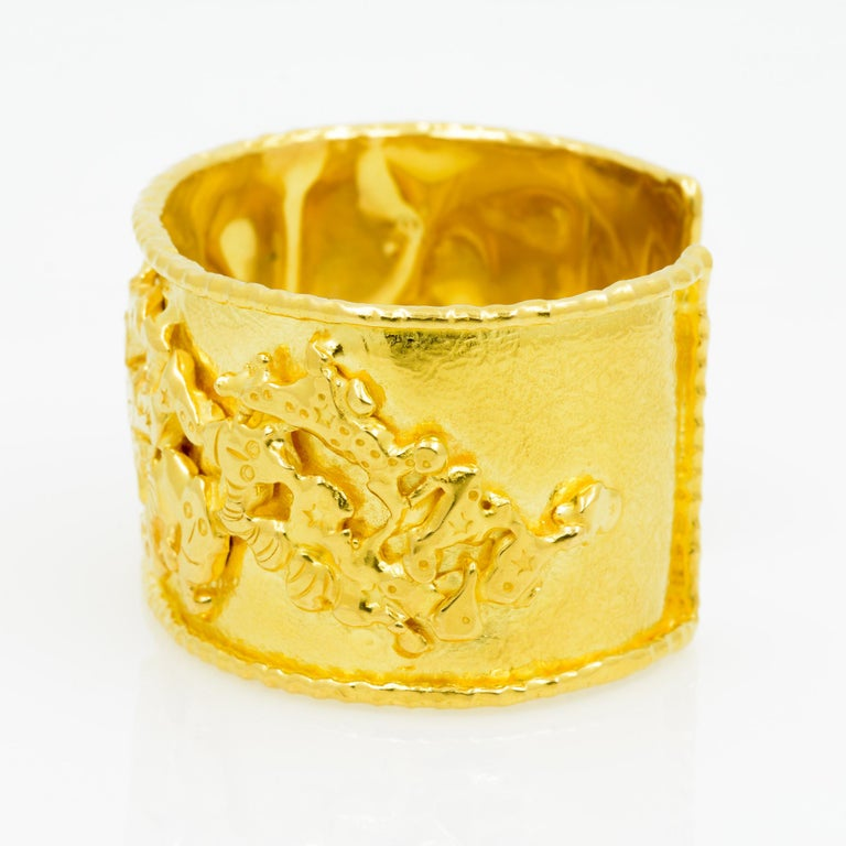 Jean Mahie 22 Karat Yellow Gold Charming Monsters Cuff For Sale 4