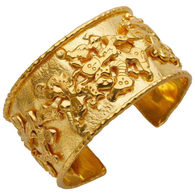 Jean Mahie 22 Karat Yellow Gold Charming Monsters Cuff For Sale