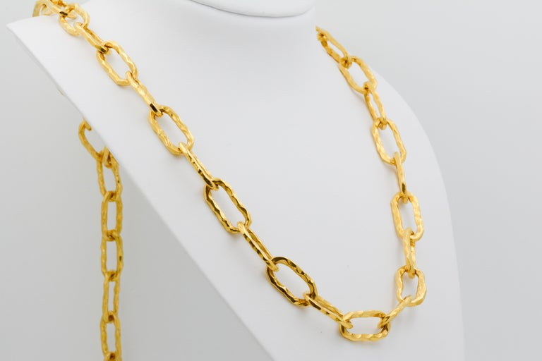 "This signed Jean Mahie Cadene 22k yellow gold necklace is 32"" long and its heaviness showcases its decadence."
