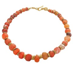 Jean Mahie Ancient Carved Mesopotamia Cornelian Bead Gold Choker Necklace