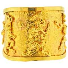 Jean Mahie Charming Creatures Gold Cuff Bracelet