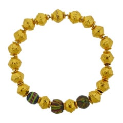 Jean Mahie Gold Cadene Necklace with Greco Roman Antique Beads