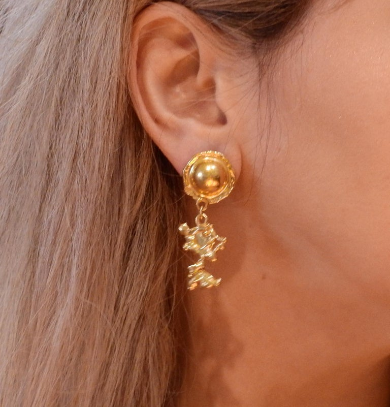 Jean Mahie Gold Charming Creatures Drop Earrings For Sale 2