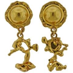 Jean Mahie Gold Charming Creatures Drop Earrings