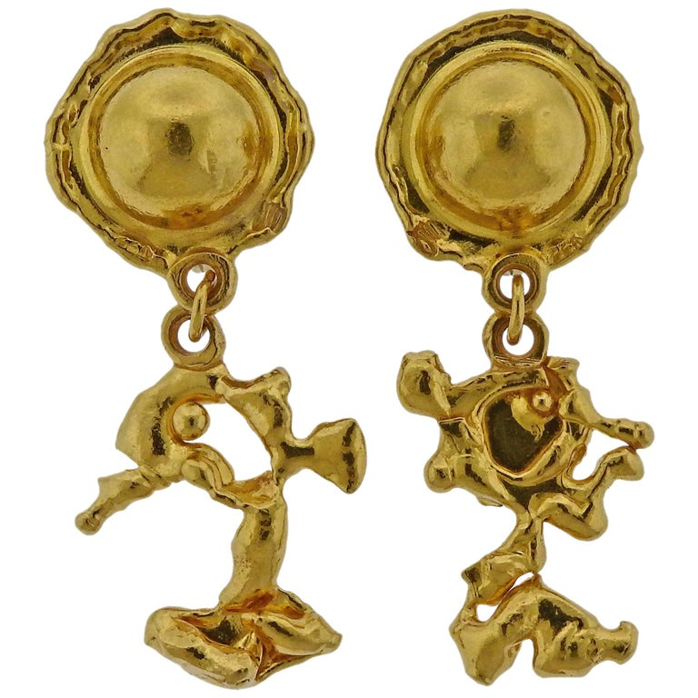 Jean Mahie Gold Charming Creatures Drop Earrings For Sale