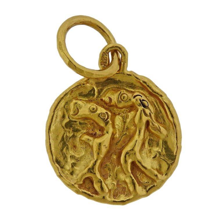 Women's Jean Mahie Gold Charming Creatures Pendant For Sale