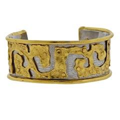 Jean Mahie Gold Platinum Cuff Bracelet