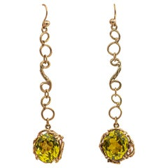 Jean Mahie Lemon Topaz Earrings 8 Carat 22 Karat Yellow Gold