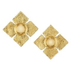 Jean Mahie Vintage Gold Clip Earrings