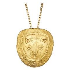 Jean Mahie Vintage Gold Lion Head Pendant Necklace