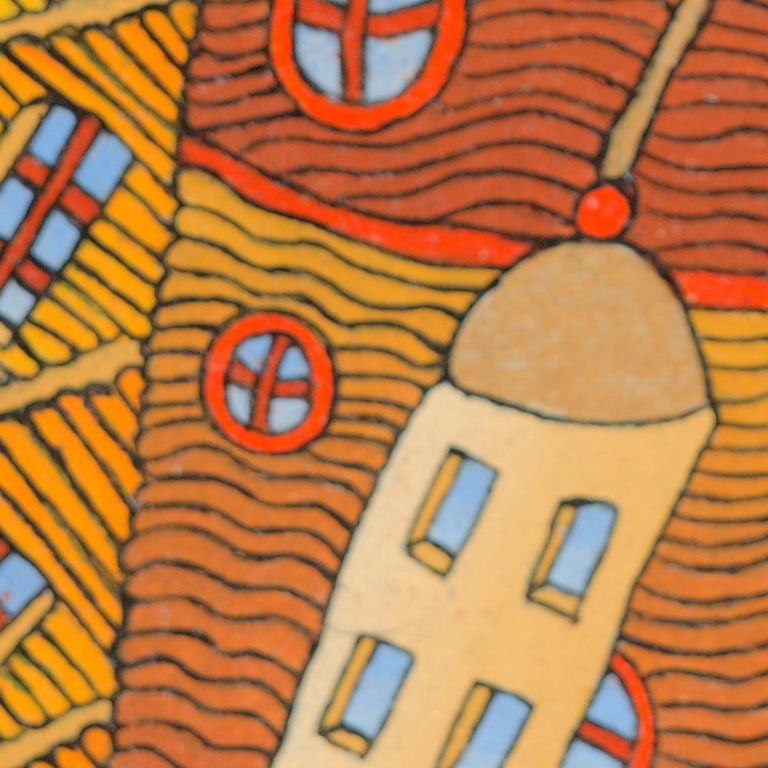 Fairy Tale German-Like Houses in Town Oil Painting For Sale 6