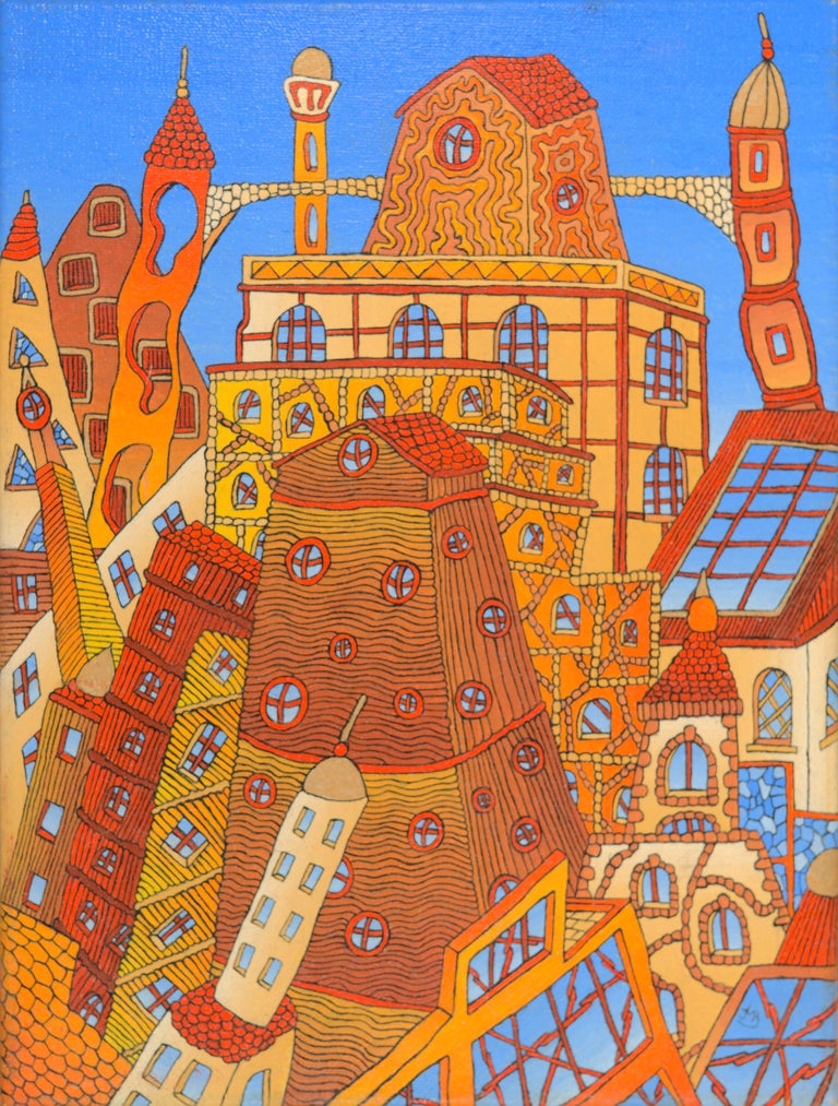 Jean-Marc Boissy Abstract Painting - Fairy Tale German-Like Houses in Town Oil Painting