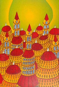 Forest of Red Dome Roofs with Stained-Glass Windows and Green Sky Oil Painting