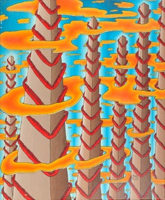 High Pyramidal Towers with Red Stairs and Orange Clouds on Blue Sky Oil Painting