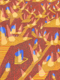 Labyrinth of Stone Pyramids, Yellow Stairs and Spotlights Gouache Painting