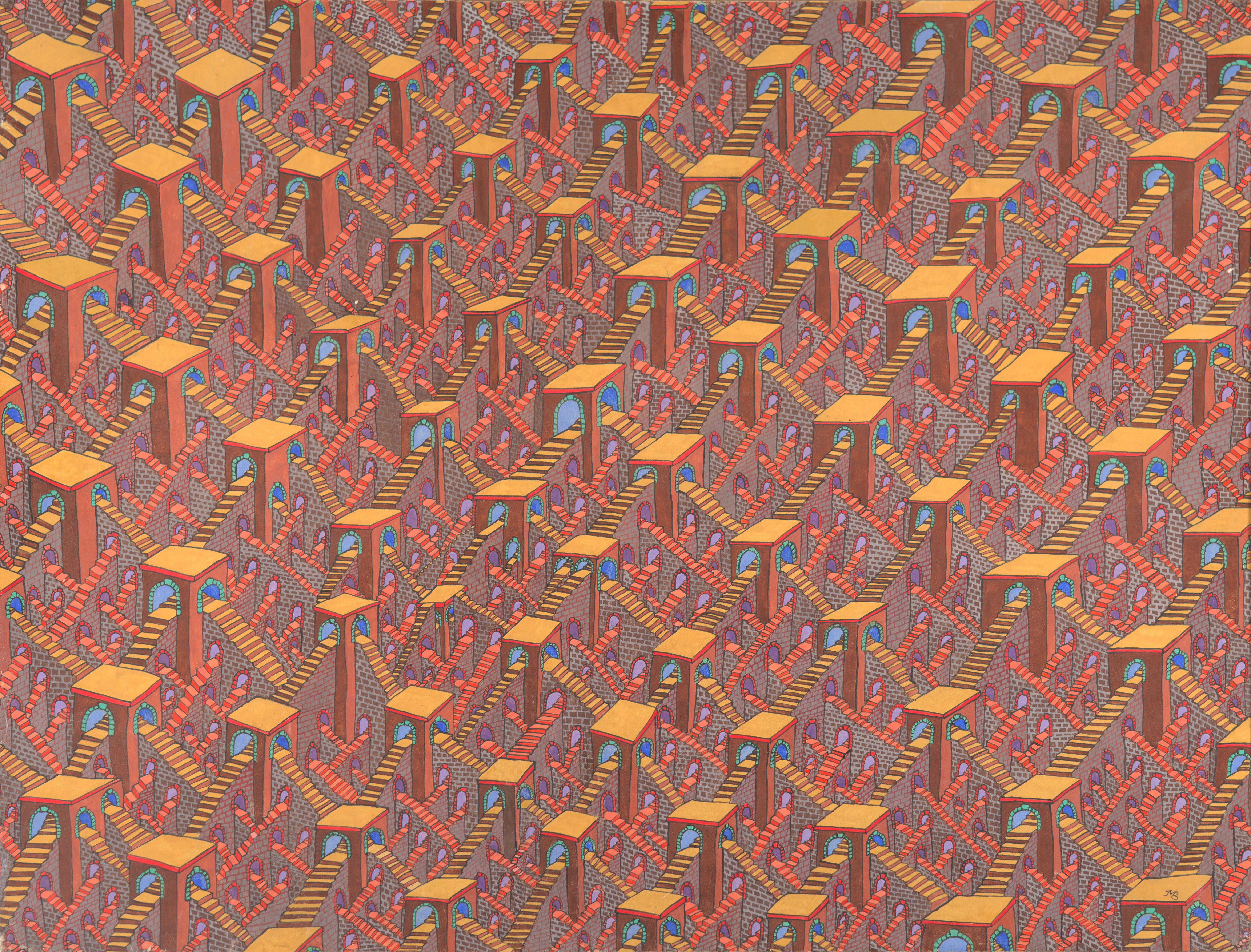 Labyrinths Network of Countless Red Orange Stairs w/ Blue Archs Gouache Painting
