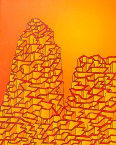 Orange Labyrinthine Hollow Mountain of Walls Oil Painting