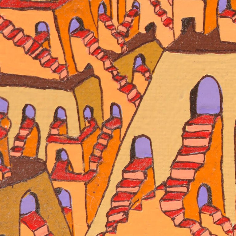 Pyramids with Countless Stairs and Arches Doors Oil Painting For Sale 4